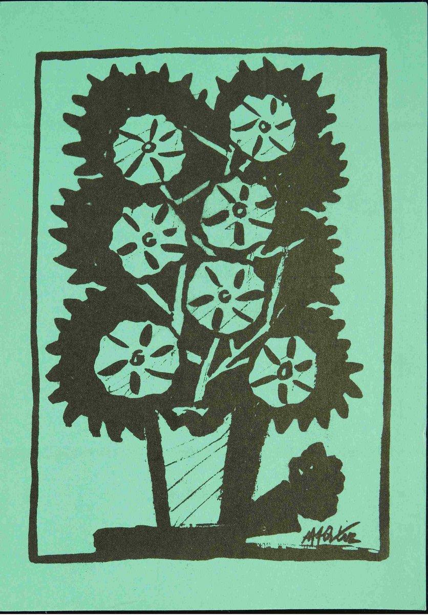 Reproducción de un dibujo de Manuel Ángeles Ortiz. Invitación para la exposición-homenaje celebrada en la Casa de España en París (1985). Archivo Manuel Ángeles Ortiz. Centro de Documentación