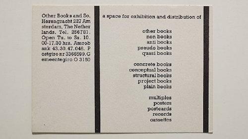 Ulises Carrión, Tarjeta publicitaria de Other Book and So, s.f.
