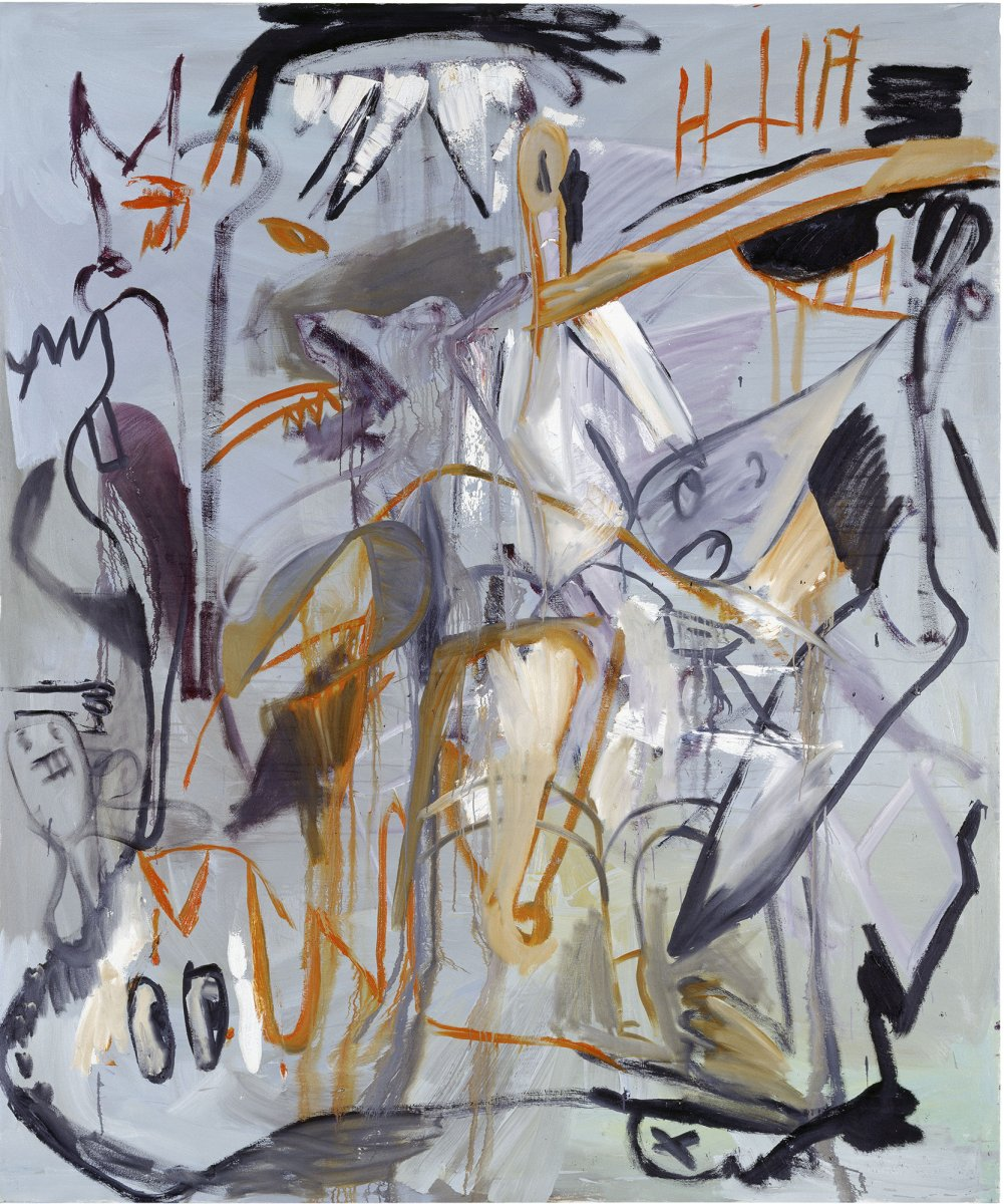 Martin Kippenberger. <em>51 years after Guernica, but this painting won't prevent any wars either</em> [51 Años del Guernica, pero tampoco este cuadro podrá evitar una Guerra],1988. © Estate of Martin Kippenberger, Galerie Gisela Capitain, Cologne