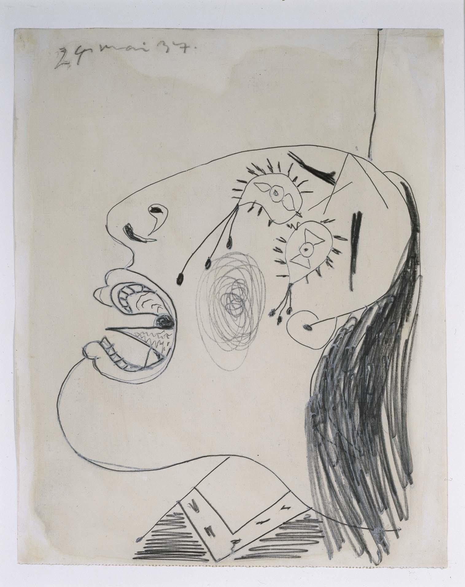 Pablo Picasso (Pablo Ruiz Picasso) - Estudio de cabeza llorando (I). Dibujo preparatorio para «Guernica»
