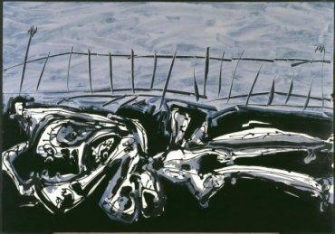 Antonio Saura. Nu-paysage (Desnudo-paisaje), 1960. Óleo y tinta china sobre papel, 62 x 89,5 cm.