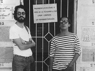 Luis Ospina and Carlos Mayolo photographed at the beginning of the 1970s, included in Todo comenzó por el fin (It All Started at the End). Film, 2015