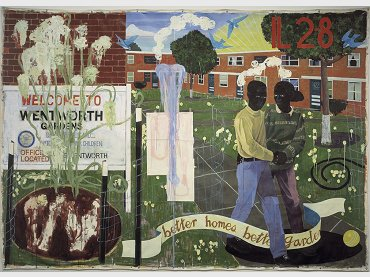 Kerry James Marshall, Better Homes, Better Gardens, 1994. Denver Art Museum Collection: Funds from Polly and Mark Addison, the Alliance for Contemporary Art, Caroline Morgan, and Colorado Contemporary Collectors: Suzanne Farver, Linda and Ken Heller, Jan and Frederick Mayer, Beverly and Bernard Rosen, Annalee and Wagner Schorr, and anonymous donors, 1995.77 © Kerry James Marshall Photograph courtesy of the Denver Art Museum