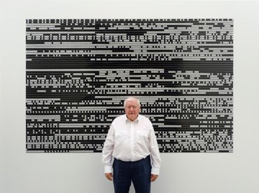 Peter Kubelka, in front of his film Arnulf Rainer (1960), 2016