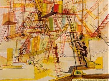 Constant. Laberinto de escaleras móviles (detalle). Dibujo, 1967. Geementemuseum, La Haya