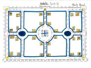 Alberto Bernal. Mobile. Obra para percusión y caminante. Sheet music and drawing, 2014