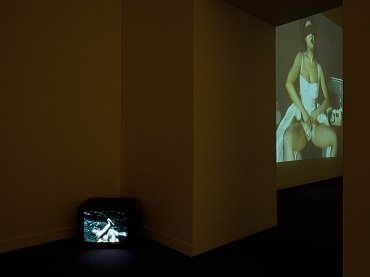 Vista de sala de la exposición. Patty Chang. Ven conmigo, nada contigo. Fuente. Melones. Afeitada, 2000