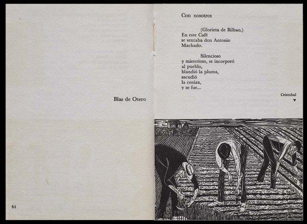 VV. AA., Versos para Antonio Machado, París: Ruedo Ibérico, 1962. Ilustración, Cristóbal Aguilar, p. 45. Fondos del Centro de Documentación del Museo Nacional Centro de Arte Reina Sofía (RESERVA 4751)