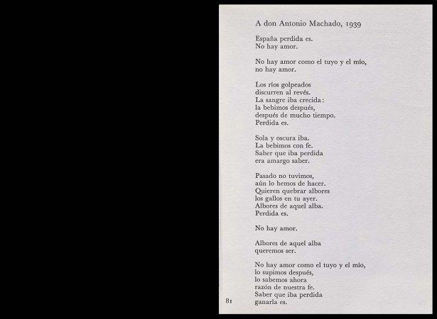 VV. AA., Versos para Antonio Machado, París: Ruedo Ibérico, 1962, p. 81. Fondos del Centro de Documentación del Museo Nacional Centro de Arte Reina Sofía (RESERVA 4751)