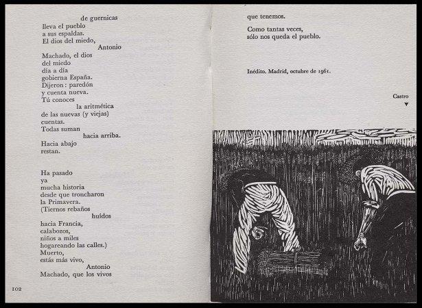 VV. AA., Versos para Antonio Machado, París: Ruedo Ibérico, 1962, p. 102 y p. 103, ilustración, Segundo Castro. Fondos del Centro de Documentación del Museo Nacional Centro de Arte Reina Sofía (RESERVA 4751)