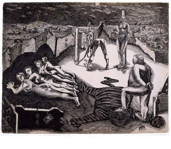 David Smith, <em>Aryan Fold Type</em>, 1943. Pluma y tinta sobre papel, (49.8 x 63.7 cm). (c) Estate of David Smith/VAGA, NY. Photo by Geoffrey Clements.