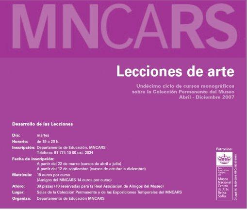 """Portada del folleto de la undécima edición de """"Lecciones de arte"""". Museo Reina Sofía, 2007"""