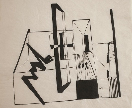 Mathias Goeritz. Dibujo ideográfico del Museo Experimental El Eco, 1952. Luis Enrique Noriega Collection