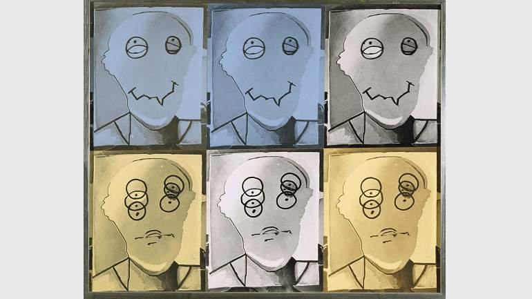 Luis Gordillo, Fotos de un personaje, 1979. Impresión sobre papel y contrachapado. Colección Museo Nacional Centro de Arte Reina Sofía