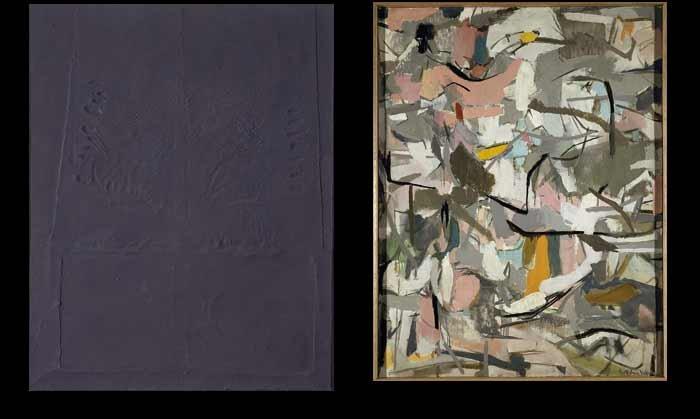 Antoni Tàpies. Marrón con huellas de dedos laterales Nº LXIII, 1958 / Esteban Vicente. Midwest, 1953