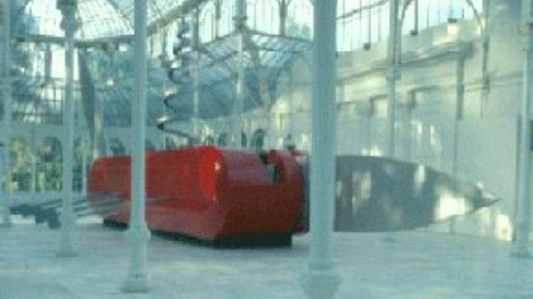 Vista de sala de la exposición. El cuchillo barco = Il Corso del Coltello: Claes Oldenburg, Coosje van Bruggen, Frank O. Gehry, 1986
