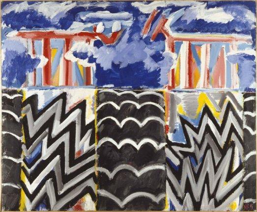 Juan Navarro Baldeweg. Air Sentinels and Fire, 1983. Técnica mixta/lienzo, 216 x 260 cm. Museo Nacional Centro de Arte Reina Sofía. © VEGAP, Madrid, 2013