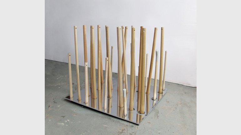 Juan Luis Moraza. Endscape (oppenheimereinstein), 2013. Stainless steel, wood. Collection of the author