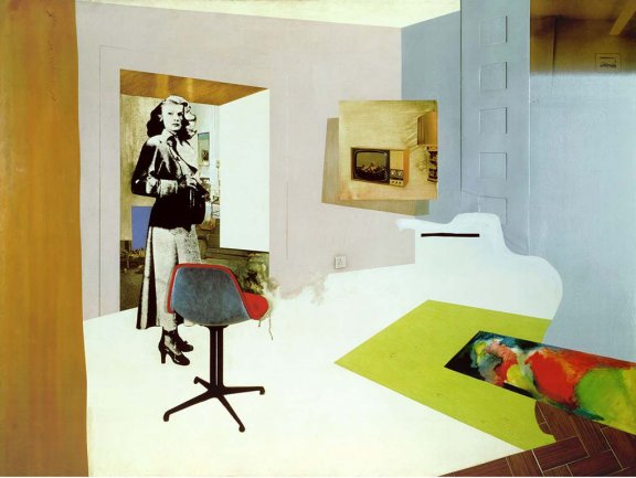 Richard Hamilton, Interior II, 1964. Óleo, celulosa, collage y relieve de metal sobre tabla. 122 x 162,5 cm. Tate: adquirido en 1967. © Estate Richard Hamilton