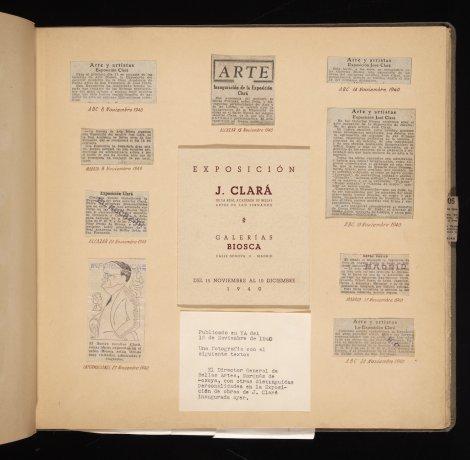 Exposición de José Clará, 1940. Catálogo y recortes de prensa. Álbum 1940-1941. Archivo Biosca. Centro de Documentación