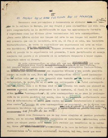 "Capítulo provisional para ""Autocrítica del arte"". Manuscrito (fragmento). Archivo José María Moreno Galván. Centro de Documentación"