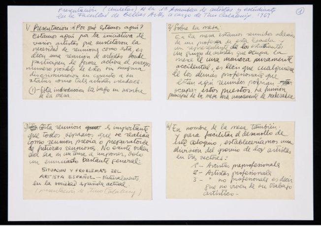 Notas para la presentación de la 1ª Asamblea de Artistas y Estudiantes en la Facultad de Bellas Artes a cargo de Tino Calabuig (1969). Archivo Redor-Calabuig. Centro de Documentación