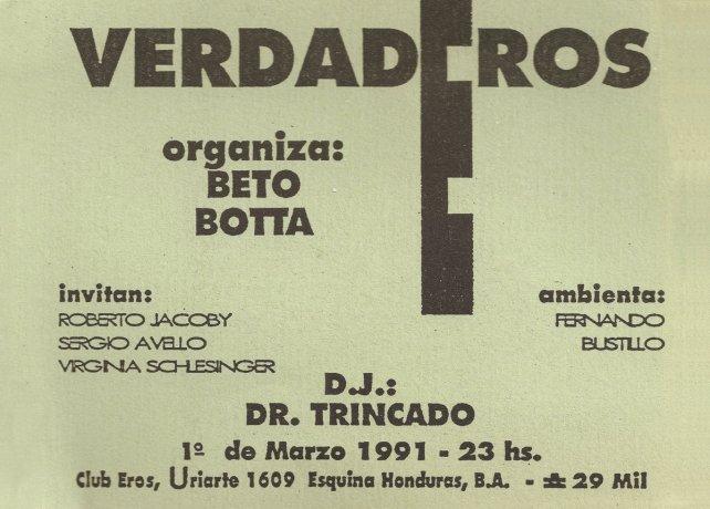 Invitación Club Eros (1988). Roberto Jacoby // Archivo en uso