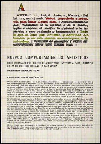 Programa del Ciclo Nuevos Comportamientos Artísticos (fragmento) (1974). Archivo Marchán/Quevedo. Centro de Documentación