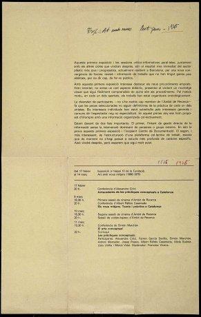 "Programa impreso ""Art amb nous metjans (1966-1975)"" (1975). Archivo Marchán/Quevedo. Centro de Documentación"