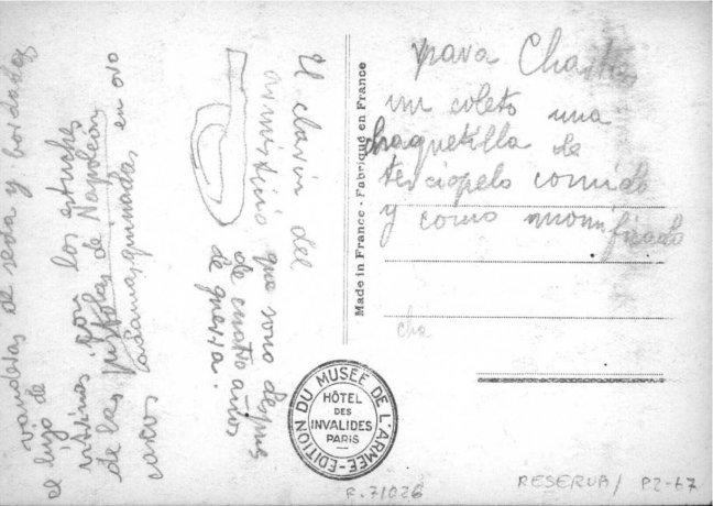 """Tarjeta postal del Musée de l'Armée (reverso). Cuaderno de notas """"Chartres y el Sena"""". 1938. Archivo Solana. Centro de Documentación"""