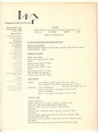 Nota de prensa de la exposición IN/OUT. Four projects by Chilean artists. Washington DC (1983). CADA // Archivo en uso