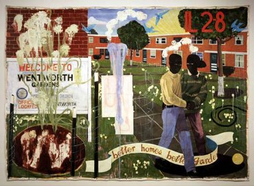 Kerry James Marshall. Better Homes, Better Gardens, 1994. Acrílico y purpurina sobre lienzo sin estirar. 254 x 360,68 cm. Denver Art Museum