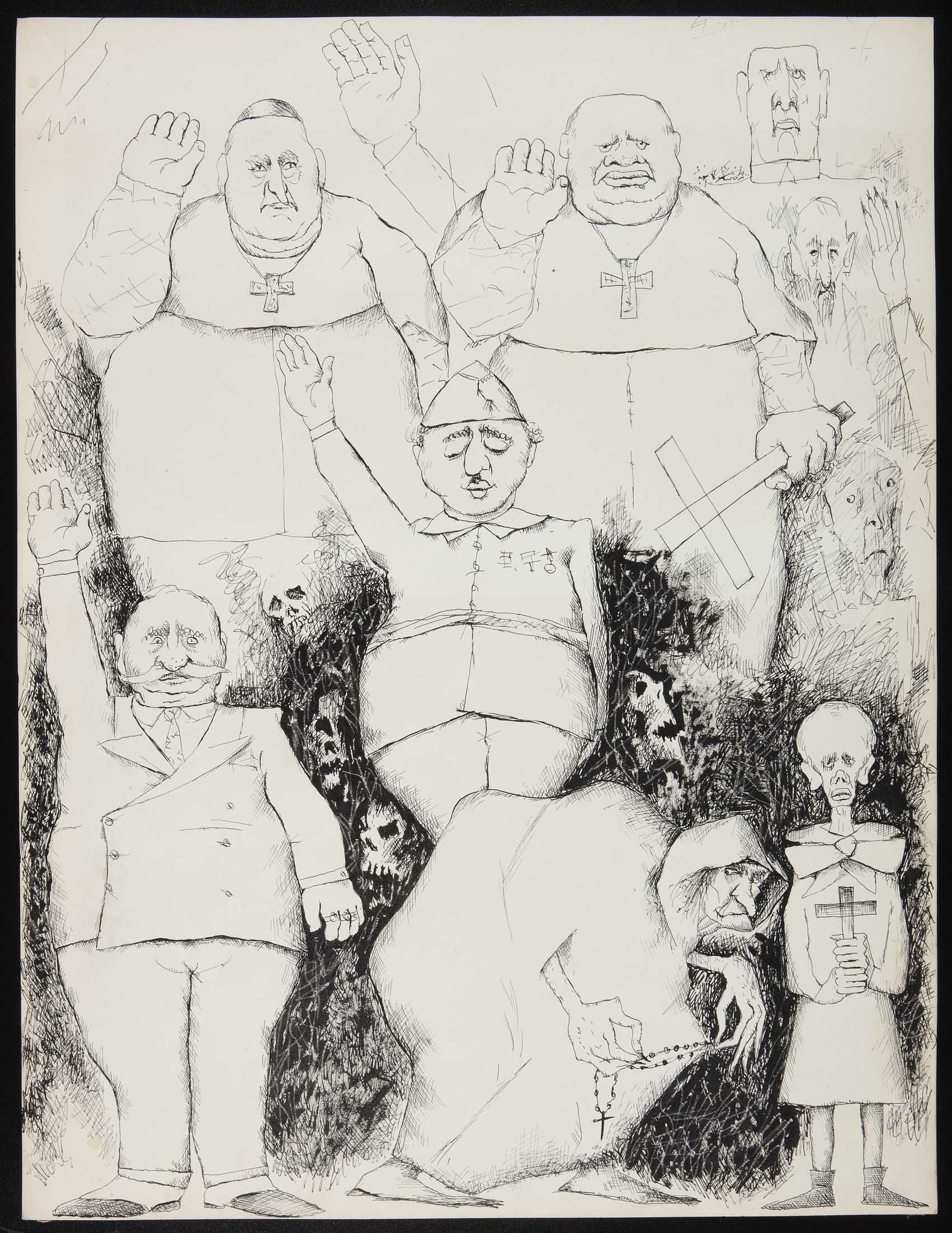 Dibujo de Luis Quintanilla de la serie La España negra de Franco