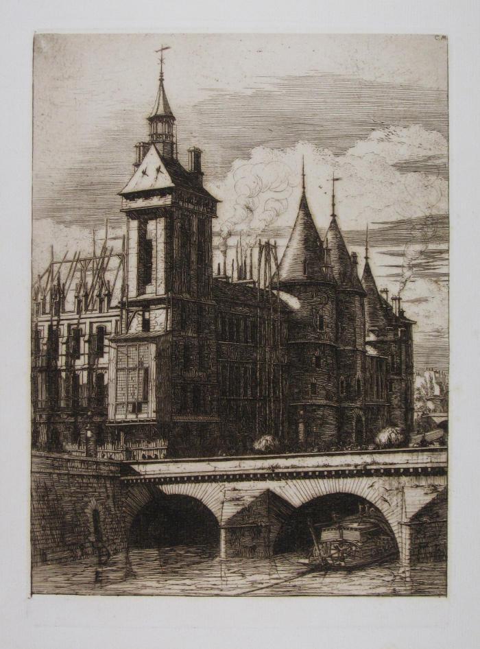 """La torre del reloj llamada también """"de la locura"""" de Charles Meryon © The Trustees of the British Museum"""